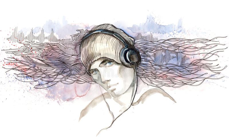 Man Listen To Music In Headphones Stock Photos