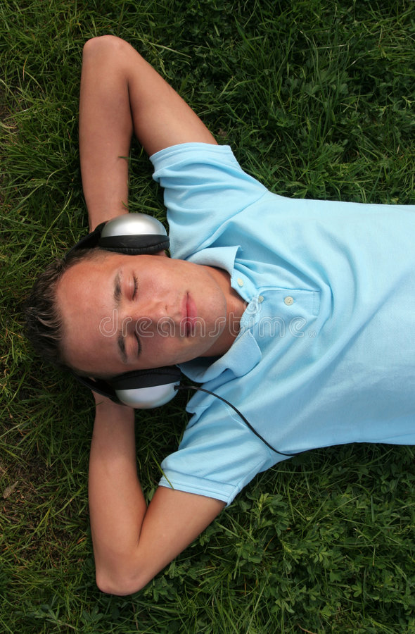 Man listening to music royalty free stock photography