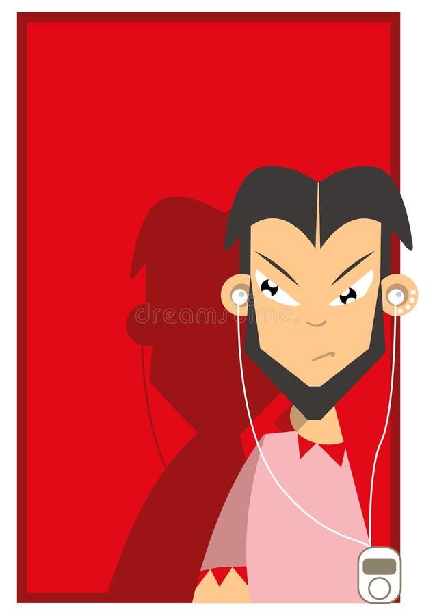 Man Listening To Music Illustration Stock Photography