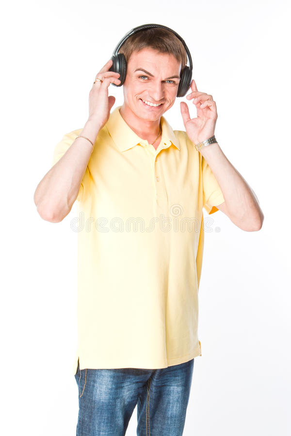 Download Man Listens To Music On Headphones Stock Photo - Image: 33640330