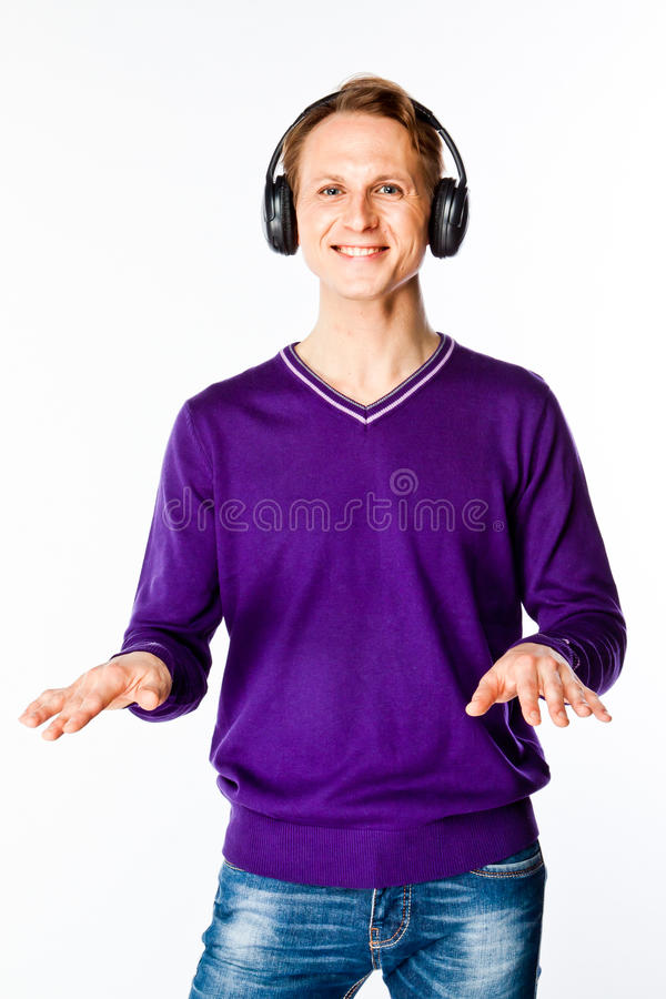 Download Man Listens To Music On Headphones Stock Image - Image: 33640331