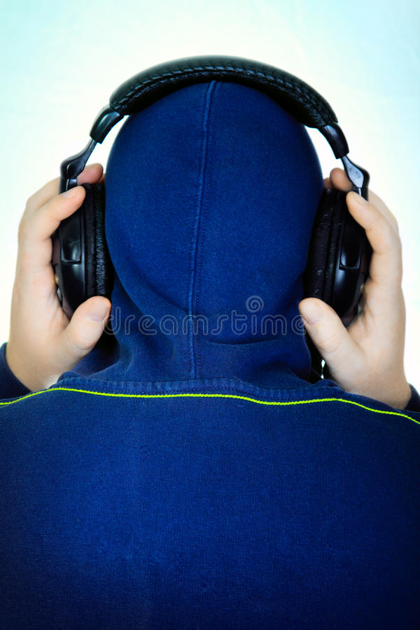 Man listens to music royalty free stock image