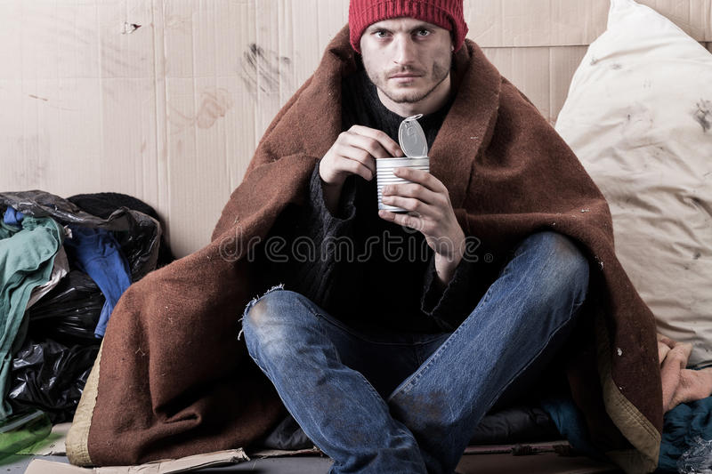 Man living on the street royalty free stock photos