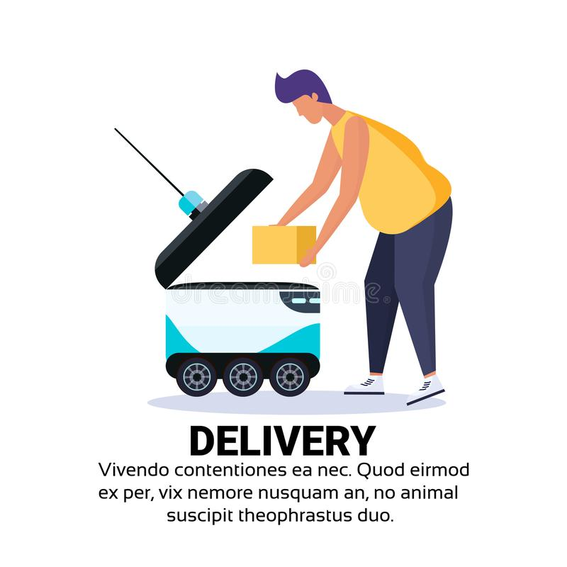 Man loading box robot self drive fast delivery goods in city car robotic carry concept isolated copy space flat. Vector illustration royalty free illustration