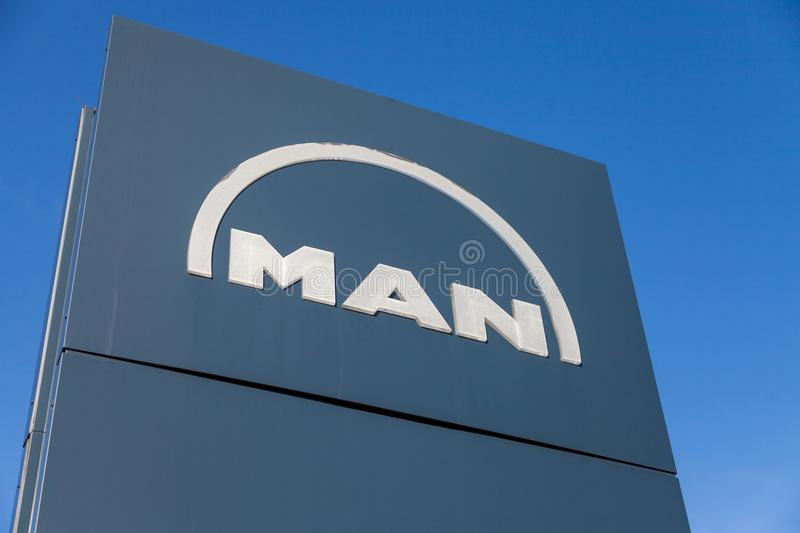 MAN logo on a board near factory in Nuernberg royalty free stock photos