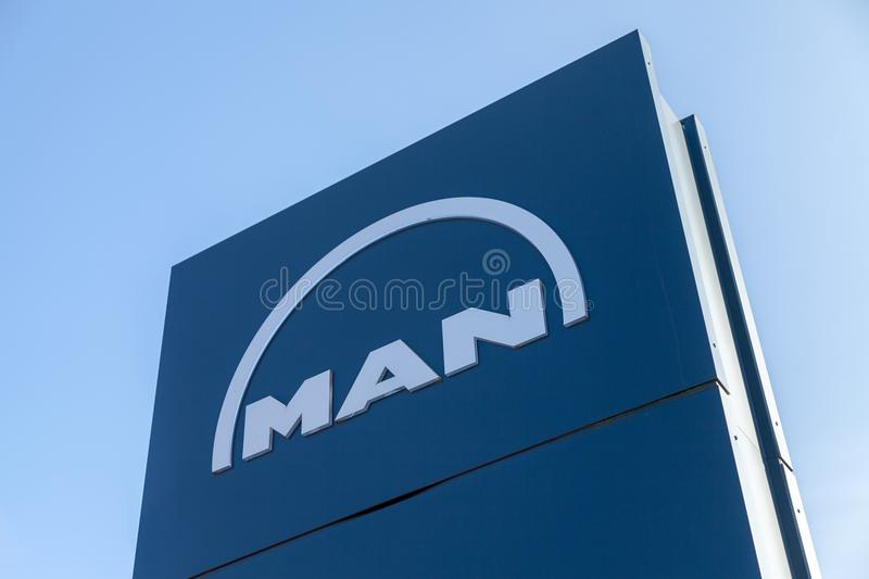MAN logo on a board near factory in Nuernberg stock photography
