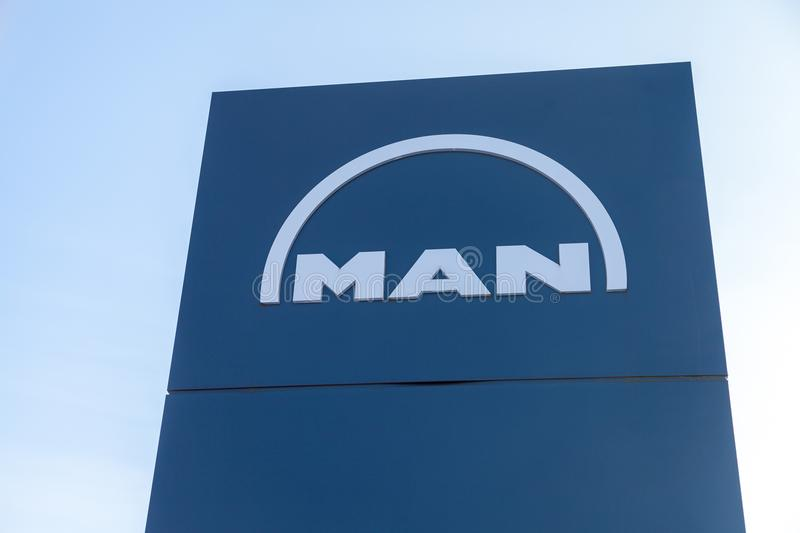 MAN logo on a board near factory in Nuernberg royalty free stock image