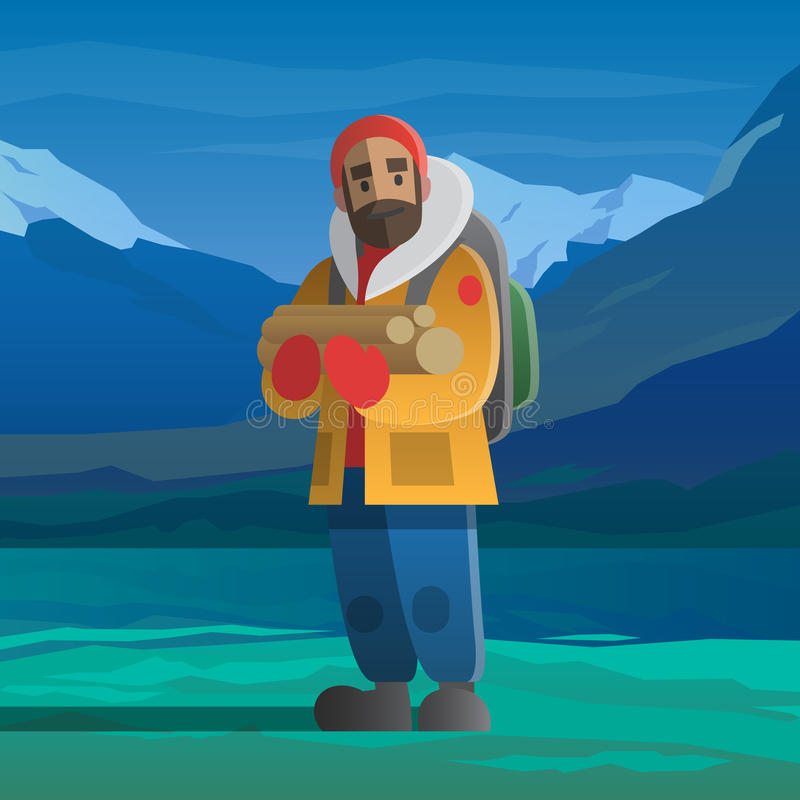 Man with logs in the winter mountains. vector illustration