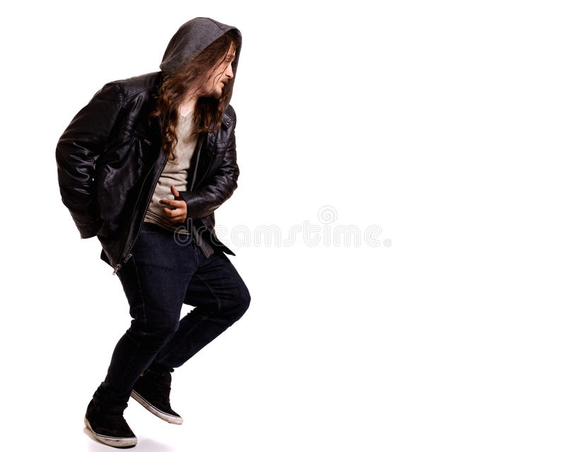Man With Long Hair Stock Photo