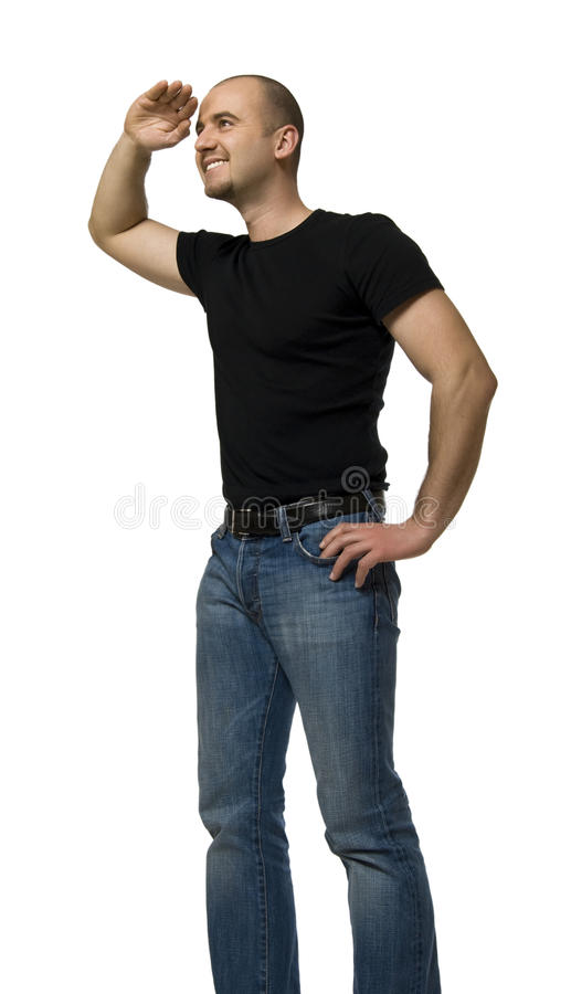Download Man look far away stock image. Image of searching, young - 12833183