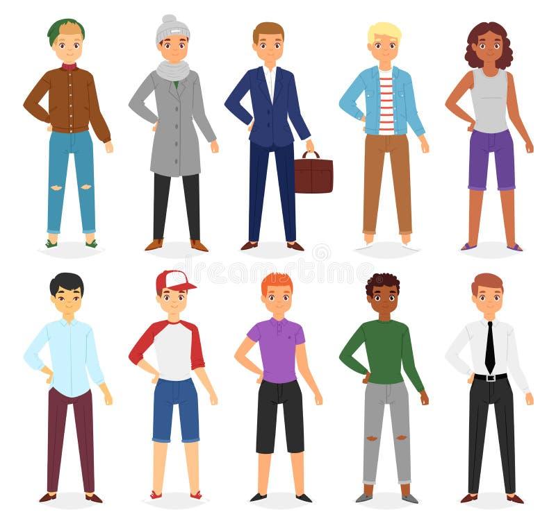 Man look fashion character clothing vector boy cartoon dress up clothes with fashion pants or shoes illustration boyish stock illustration