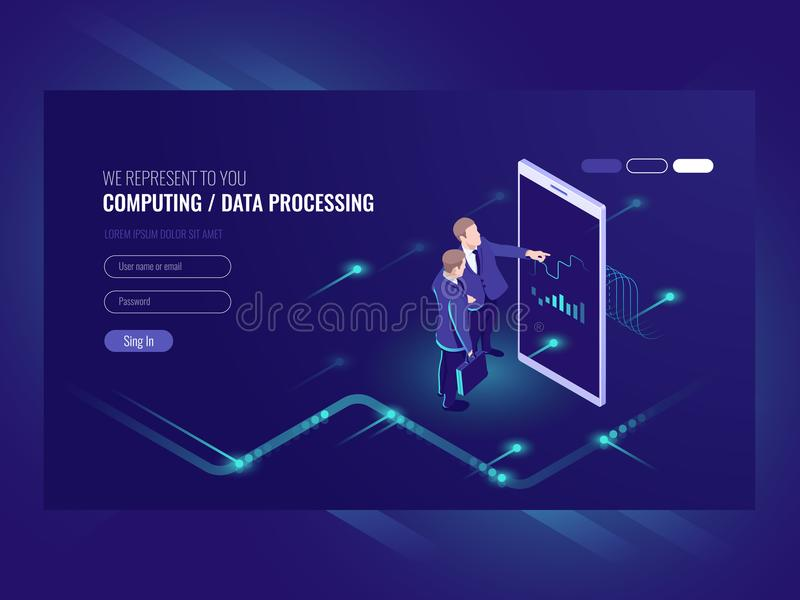 Man look graphic chart, business analytics concept, big data processing icon, virtual reality interface, server room. Admin administrator, isometric stock illustration