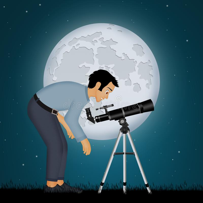 Man look the moon in the telescope. Illustration of man look the moon in the telescope stock illustration