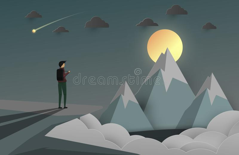A man look at the peak of mountain. business background for star vector illustration
