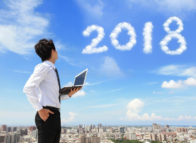 Man look to 2018 year royalty free stock photo