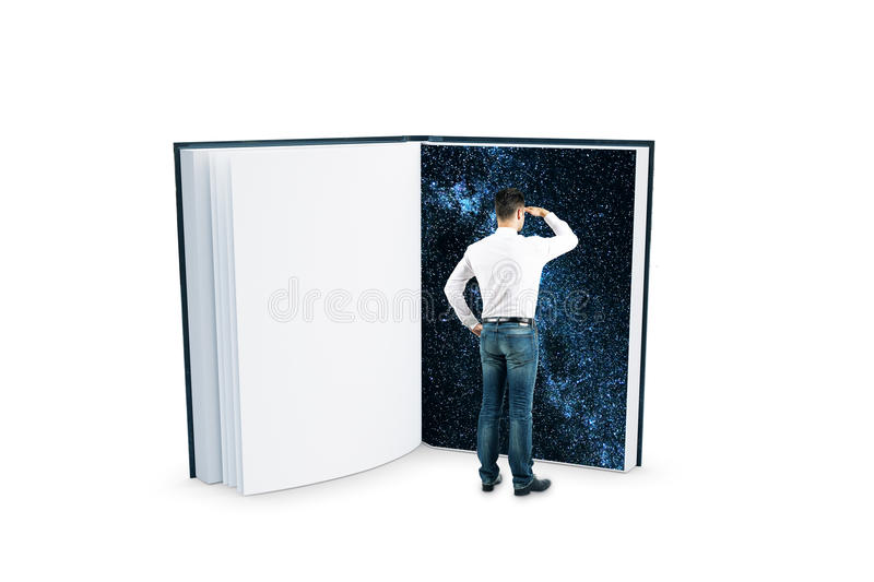 Man looking into abstract space book royalty free stock photo