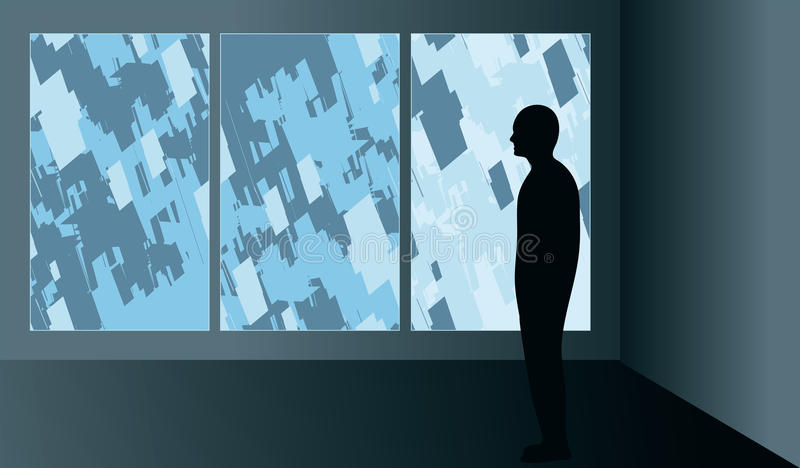 Man looking at art in a gallery. Silhouetted man looking at an abstract modern triptych illustration in an art gallery royalty free illustration