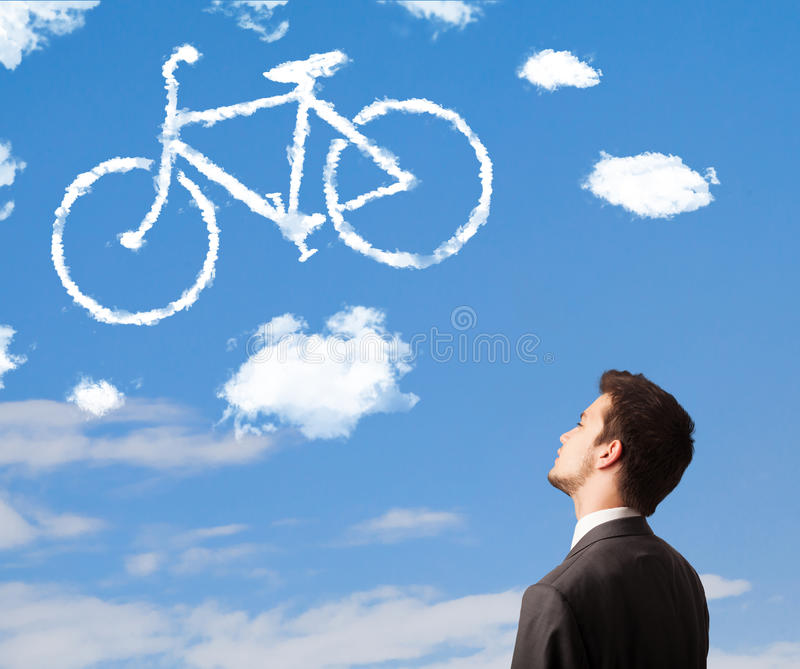 Download Man Looking At Bicycle Clouds On Blue Sky Stock Image - Image of biking, outdoor: 40250627