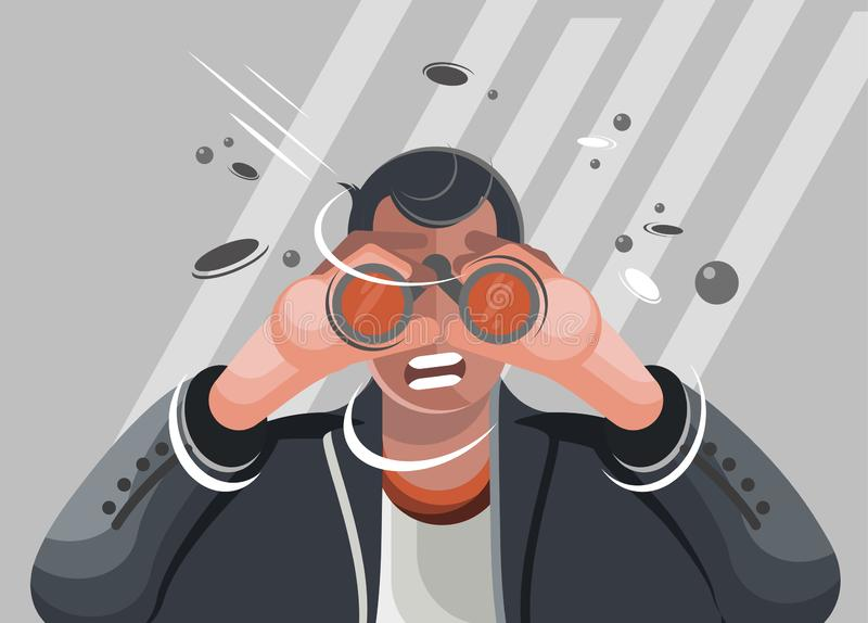 Man looking in the binocular illustration vector illustration