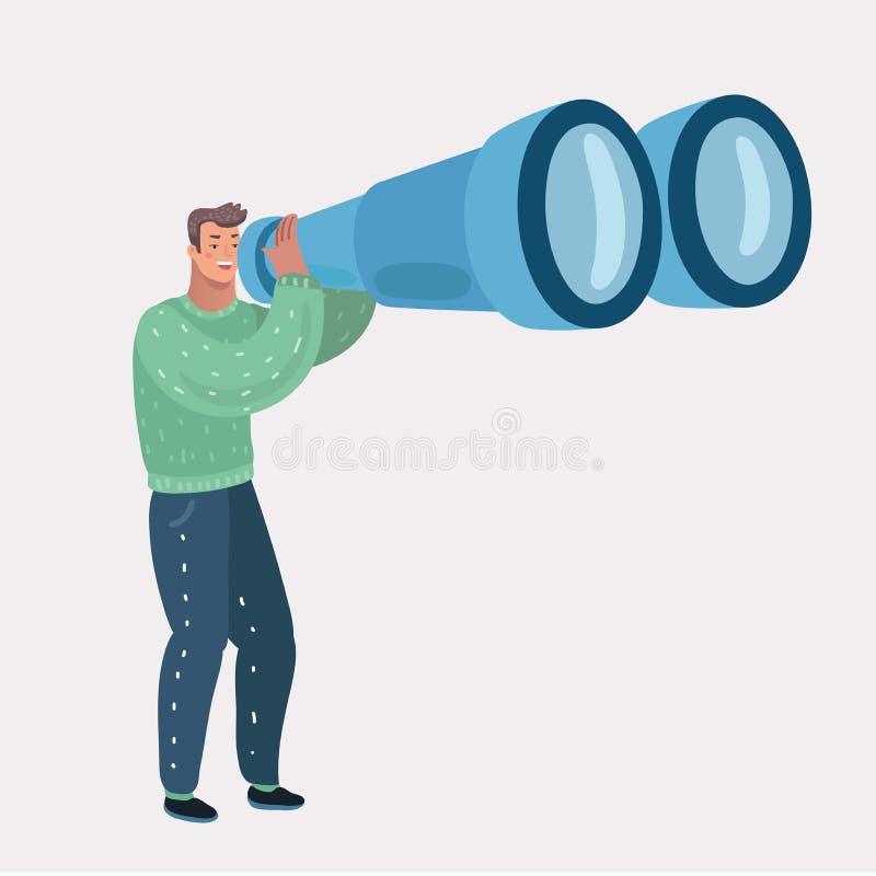 Man looking through binocular. stock illustration