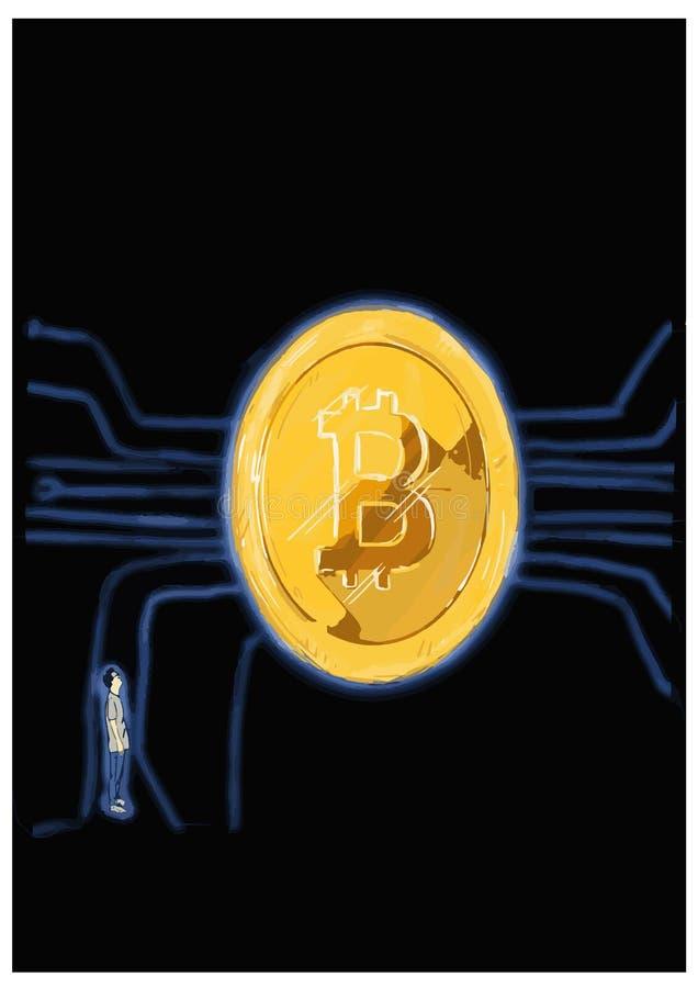 Man looking at the bitcoin symbol. stock photo