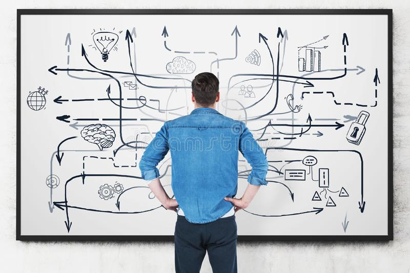 Man looking at business plan at whiteboard. Rear view of young man in casual clothes looking at whiteboard with business plan sketch drawn on it. Concept of royalty free stock image