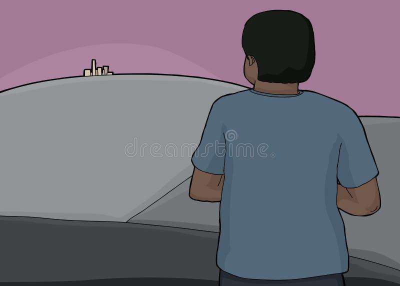 Man Looking at City. Man looking over hills at city far away royalty free illustration