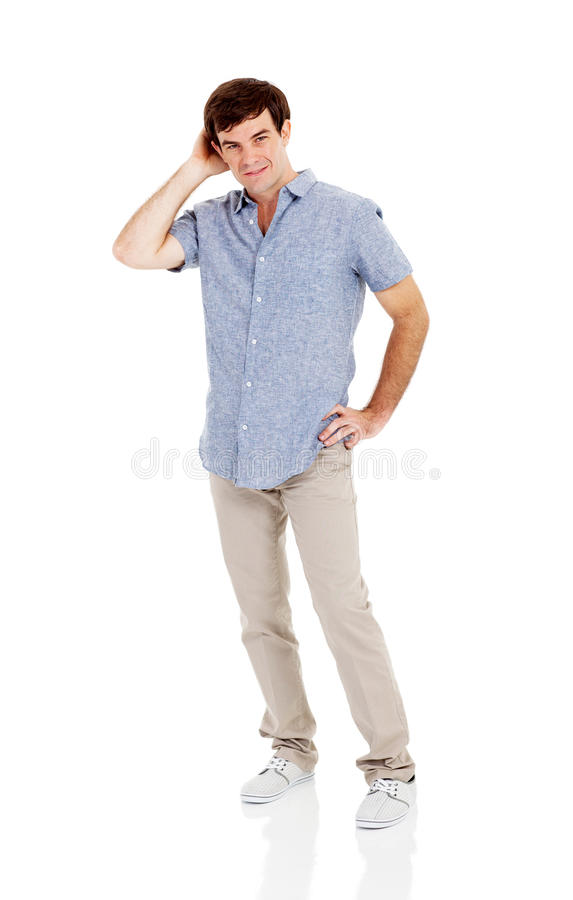 Man looking confused stock photo