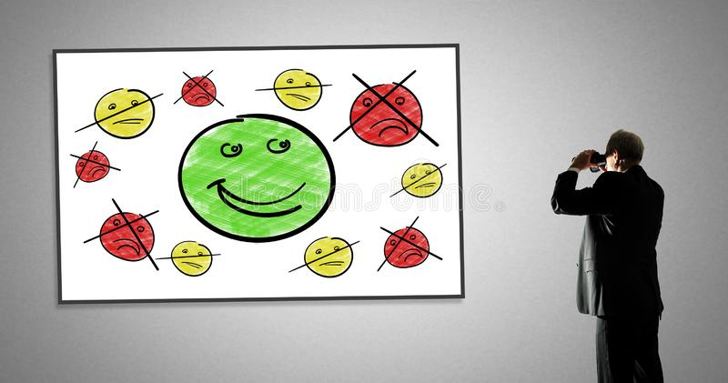 Customer satisfaction concept on a whiteboard royalty free stock images