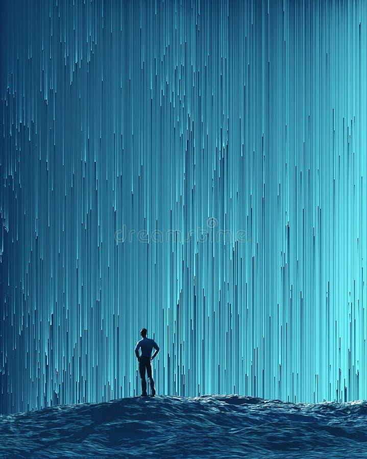Man looking at a flow. Man looking at a digital flow royalty free illustration