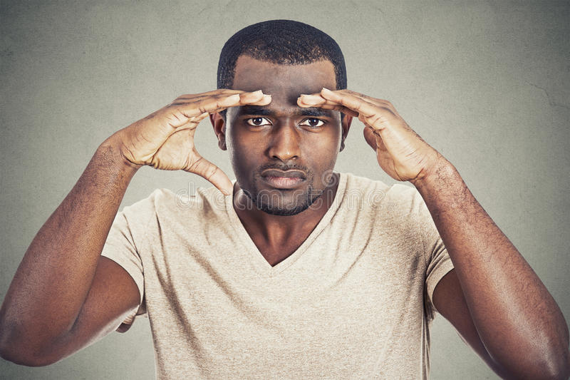 Man looking into future searching for new opportunities stock photo