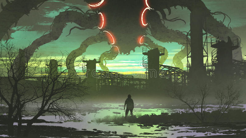 Man looking at giant monster standing above abandoned factory. Digital art style, illustration painting vector illustration