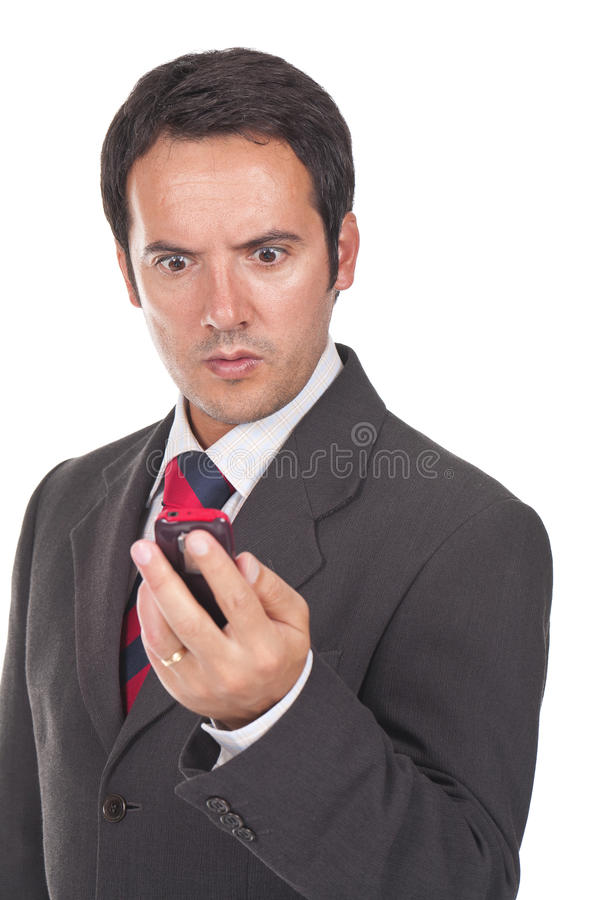 Download Man Looking At His Phone Amazed And Surprised Stock Photo - Image: 22626620