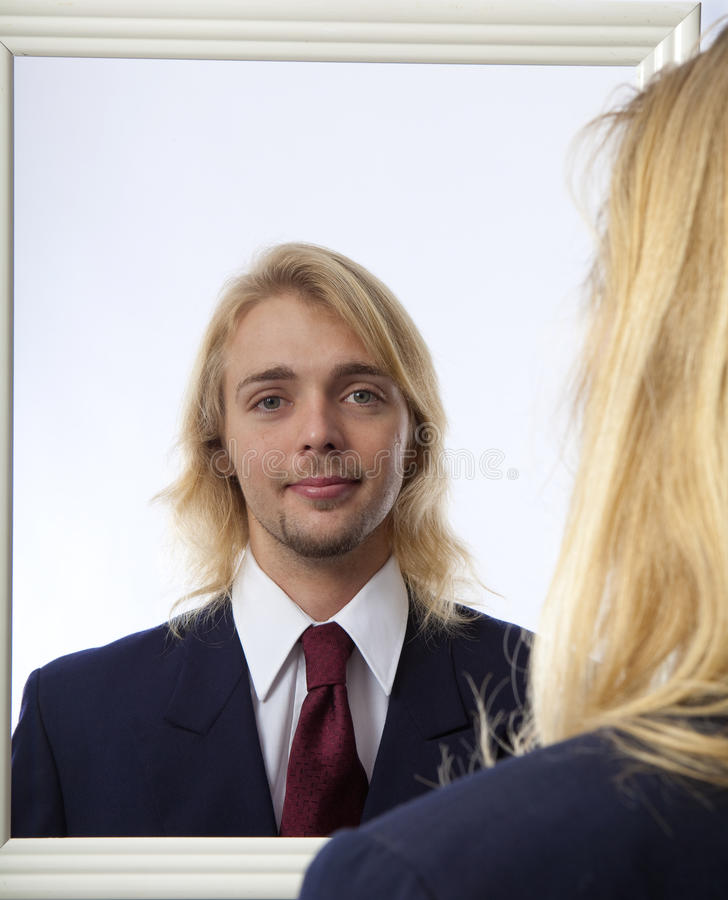 Free Man Looking In A Mirror Stock Image - 14058971