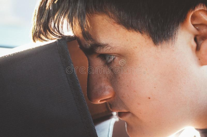 Man Looking Inside a Box Inside a Room royalty free stock photo