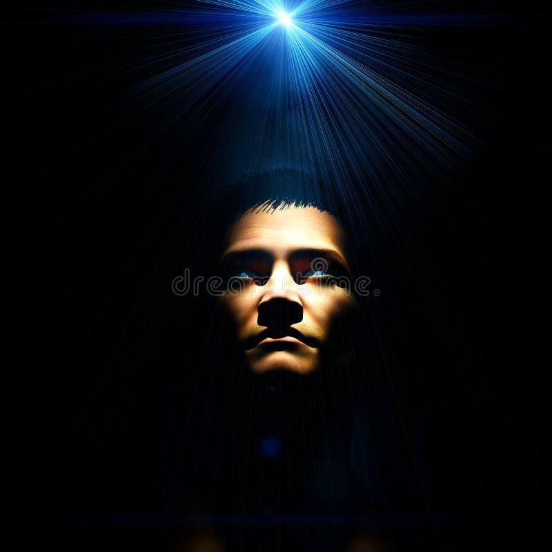 Spiritual Man. Bright blue light above a man royalty free illustration