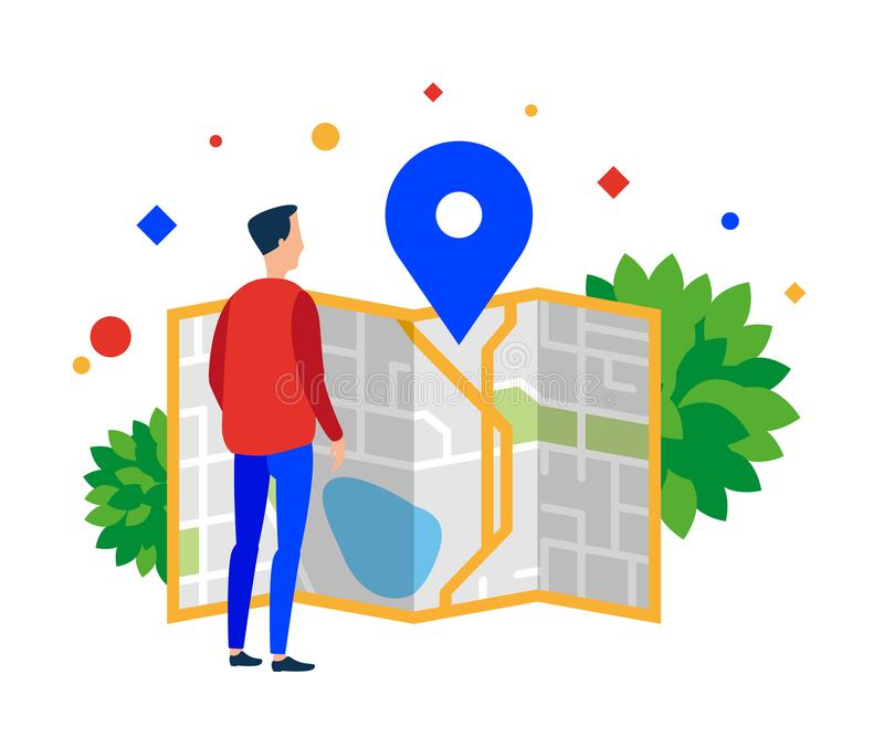Man looking at a map of the city. vector illustration