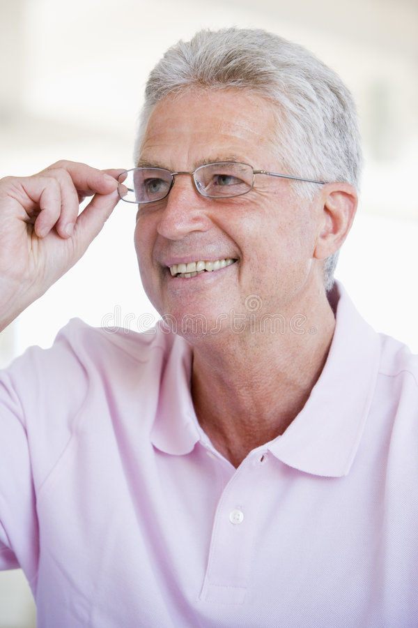 Man Looking Through New Glasses royalty free stock photo