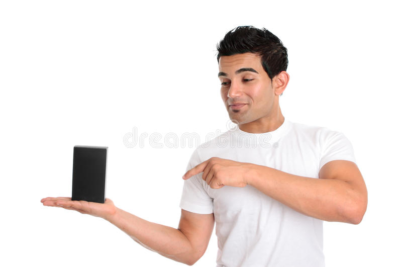 Download Man Looking And Pointing To Your Retail Product Stock Photo - Image: 13254536