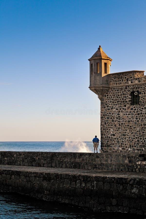 Man Looking At Sea From Bateria De Santa Barbara, Tenerife Editorial Stock Photo