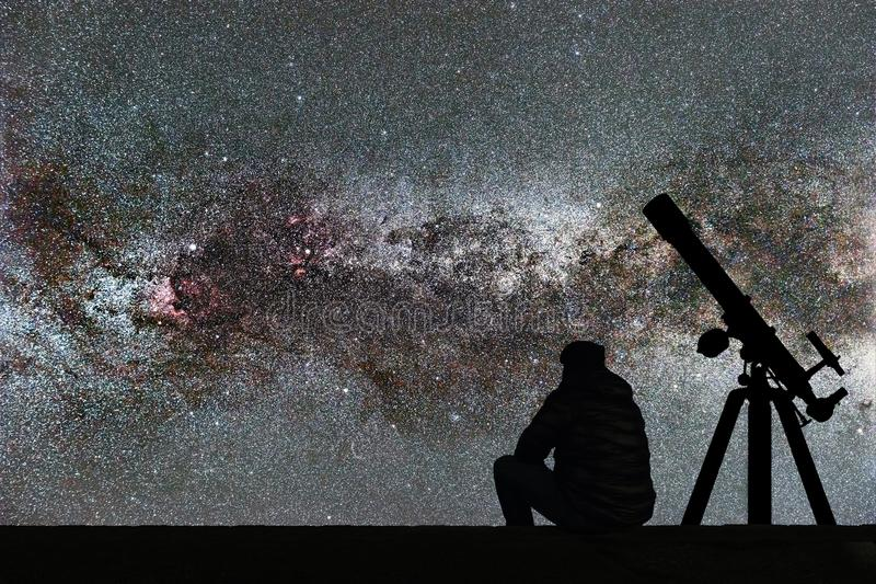 Man looking at the stars, astronomy telescope. Milky Way starry. Sky. Milky Way stock images