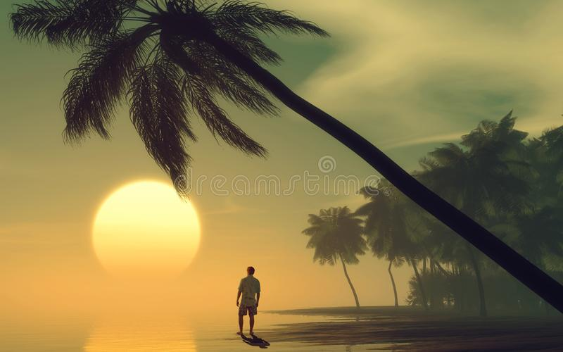 Man on the beach at sunset. Man looking at the sunset on tropical island. Travel concept royalty free stock photos