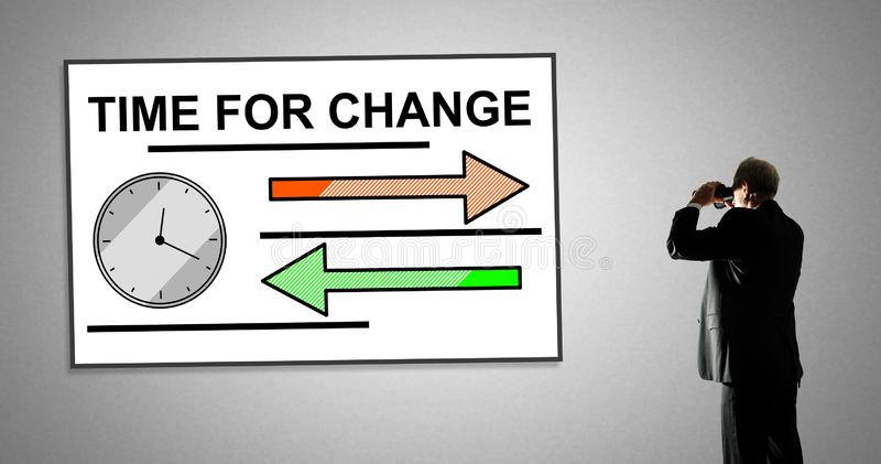 Time for change concept on a whiteboard. Man looking at time for change concept through binoculars vector illustration