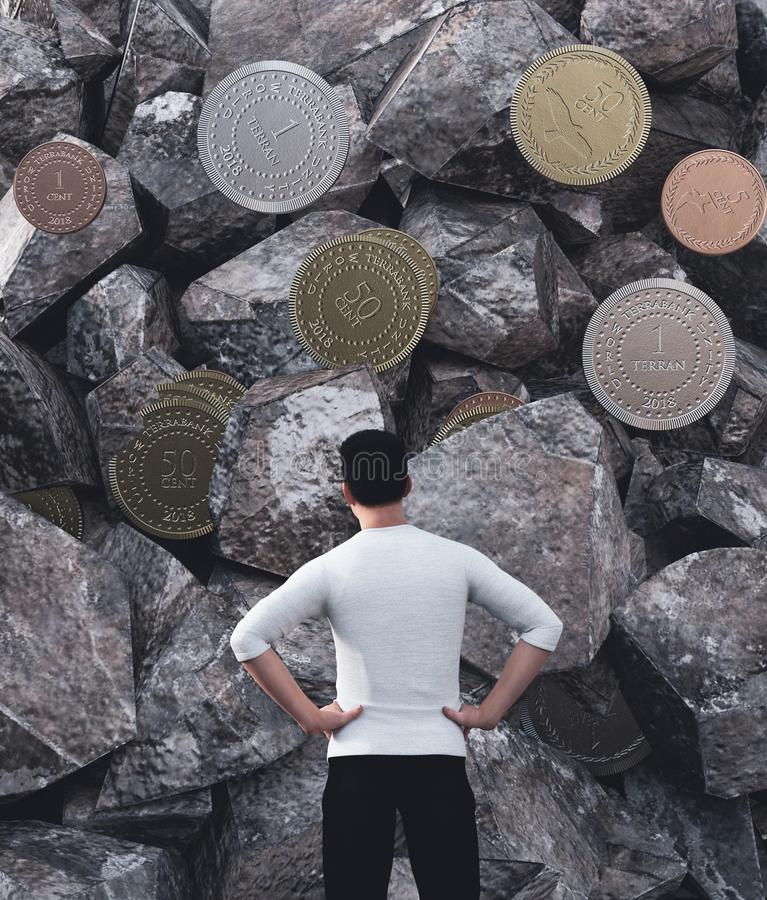 Hard working`s wall. Man looking to the rock wall that full of coins,conceptual image for working hard ideas,3d illustration