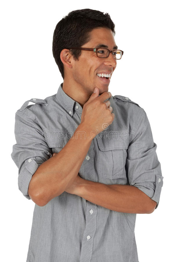 Man Looking To The Side With Hand On Chin Stock Photos