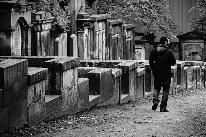 Man walking in the cemetery of Edinburgh. Man looking for the tomb of a family member in the cemetery of Edinburgh stock image