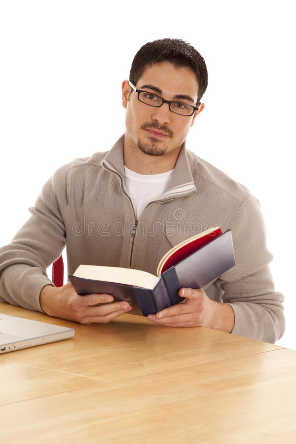 Download Man looking up from book stock photo. Image of homework - 19490746