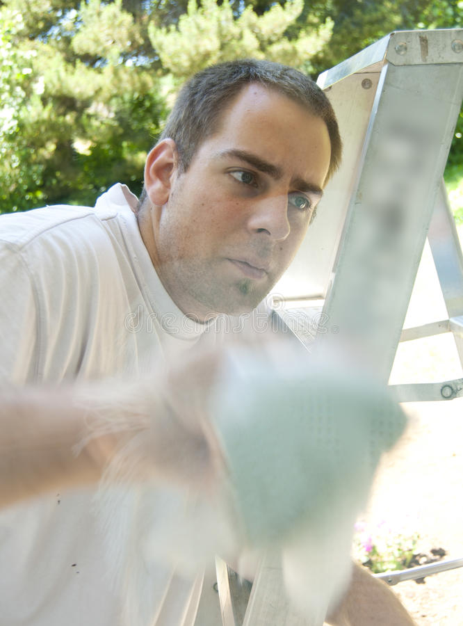 Download Man Looking Up At Window On Ladder Stock Image - Image: 15162327