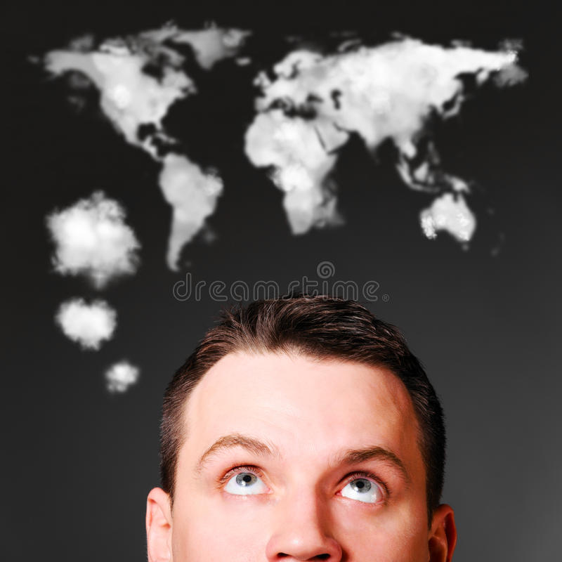 Man is looking up royalty free stock photography