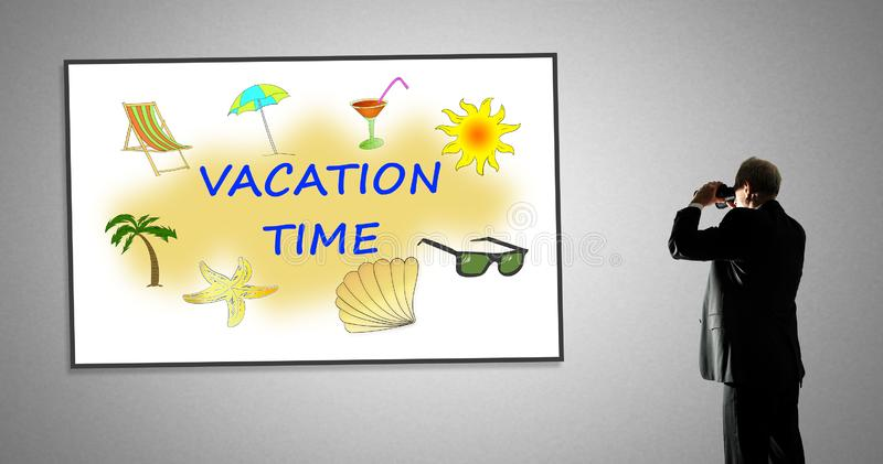 Vacation time concept on a whiteboard. Man looking at vacation time concept through binoculars royalty free illustration